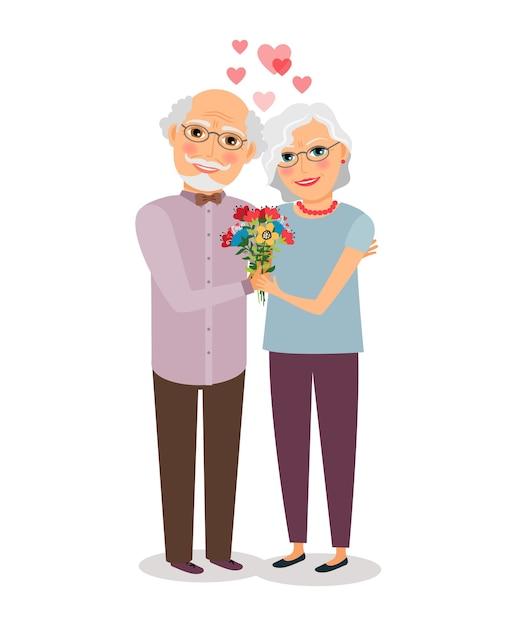 Casal feliz sênior. pessoas esposa e marido, avós idosos. ilustração vetorial Vetor grátis