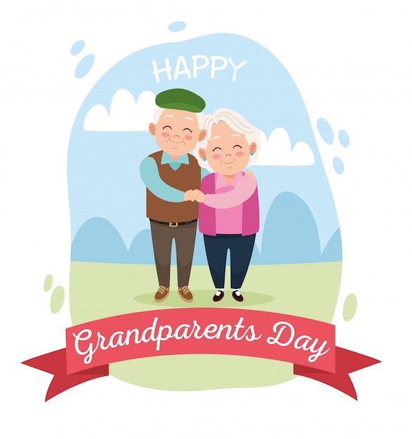 Casal fofo avós felizes Vetor Premium