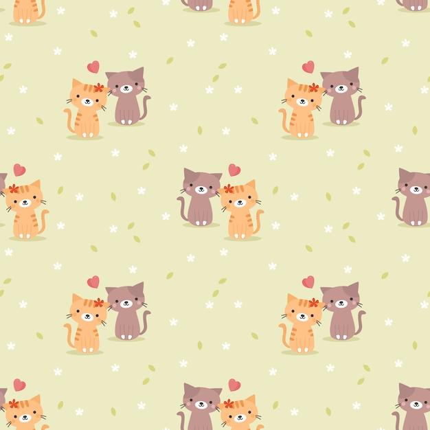 Casal fofo gato e coração sem costura padrão Vetor Premium