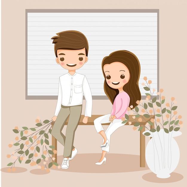 Casal Fofo Personagem De Desenho Animado Sentados Juntos Com
