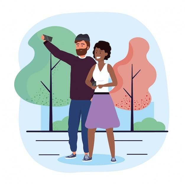 Casal homem e mulher com smartphone e árvores Vetor Premium