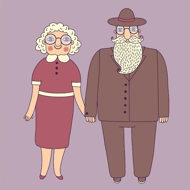 Casal idoso. avós. Vetor Premium