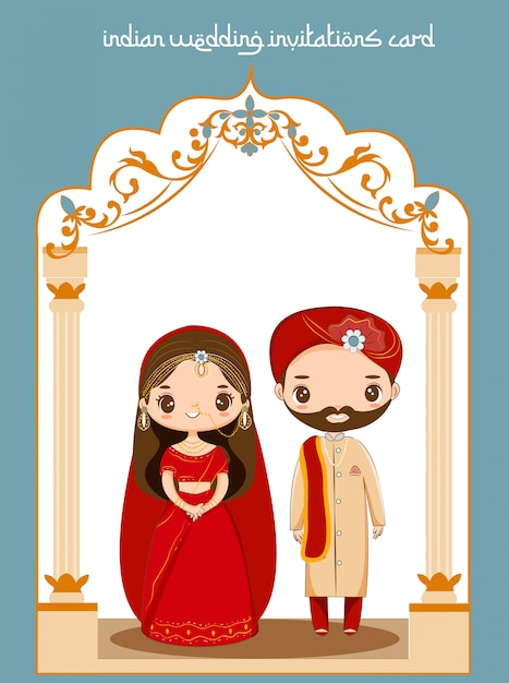Casal indiano bonito para cartão de convites de casamento Vetor Premium