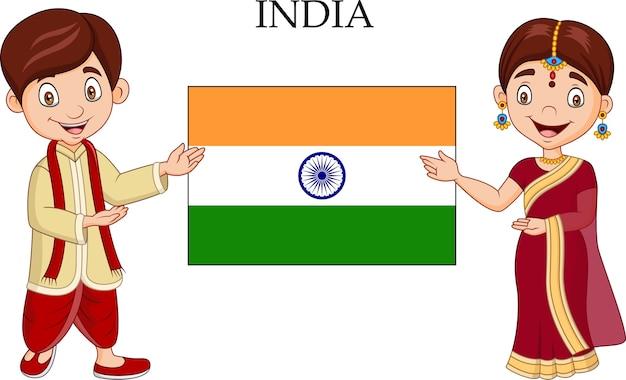 Casal indiano dos desenhos animados, vestindo o traje tradicional Vetor Premium