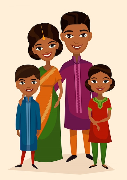 Casal indiano feliz família com filhos Vetor Premium