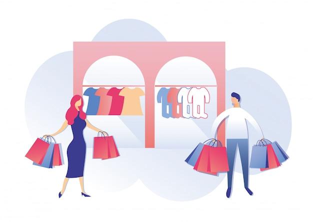 Casal jovem com sacos de compras na loja para crianças Vetor Premium