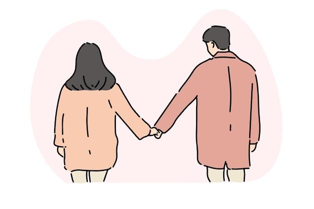 Casal jovem elegante de mãos dadas, Vetor Premium