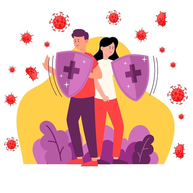 Casal lutando juntos contra vírus Vetor grátis