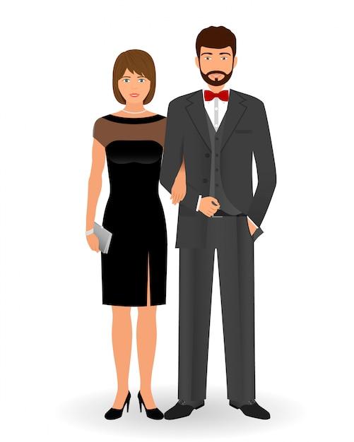 Casal masculino e feminino em roupas elegantes para eventos sociais oficiais. código de vestimenta de gravata preta. roupa de cocktail à noite. Vetor Premium