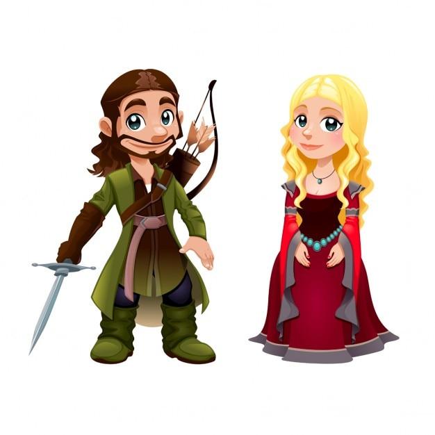 Casal Medieval Knight E Princesa Vector Desenhos Animados Isolado