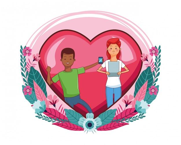 Casal milenar no desenho de moldura de coração Vetor Premium