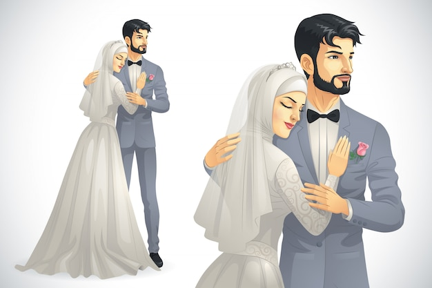 Casal muçulmano do casamento Vetor Premium