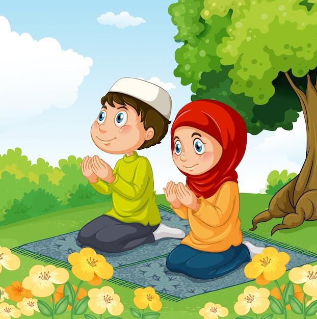 Casal muçulmano rezando no parque Vetor grátis