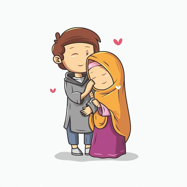 Casal muçulmano romântico Vetor Premium