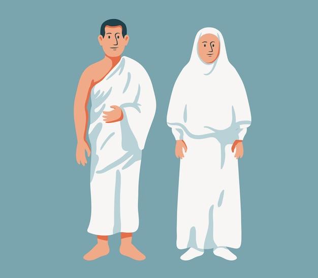 Casal muçulmano usa pano de hajj Vetor Premium