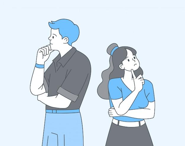 Casal na ilustração de contorno dos desenhos animados de dúvida. pensativo, triste namorado e namorada pensando, procurando solução isolou caracteres lineart em azul. jovem, mulher em pé, tendo dilema Vetor Premium