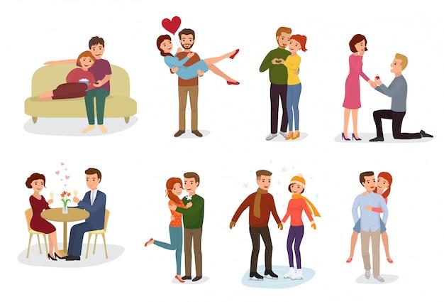 Casal no amor vector personagens de amantes em relacionamentos adoráveis juntos no encontro amoroso Vetor Premium