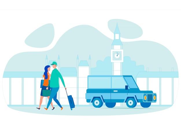Casal no exterior viagens ilustração vetorial plana Vetor Premium