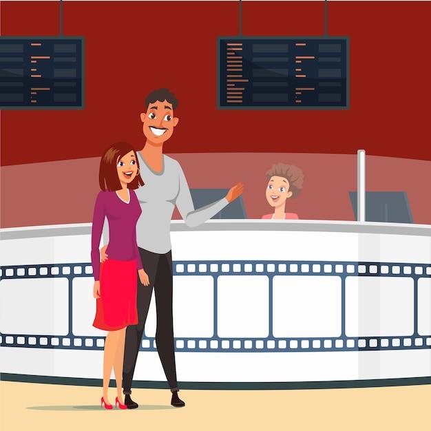 Casal num encontro na ilustração de cinema. feliz esposa e marido comprando ingressos para o cinema. namorada e namorado apaixonado. noite romantica. personagens de desenhos animados no cinema juntos Vetor Premium