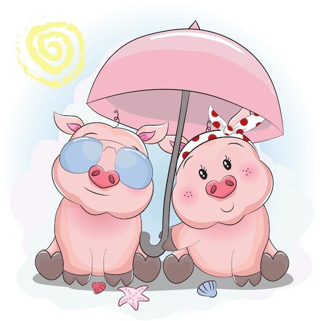 Casal porquinho fofo com guarda-chuva e óculos de sol na praia Vetor Premium