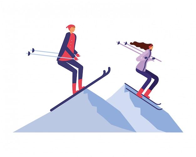 Casal praticando esqui na paisagem de inverno Vetor Premium