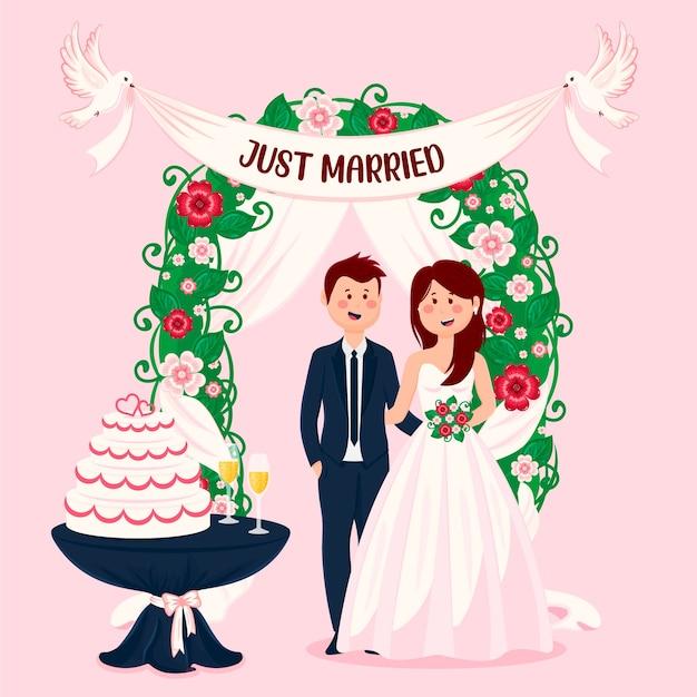 Casal recém casado com bolo Vetor Premium