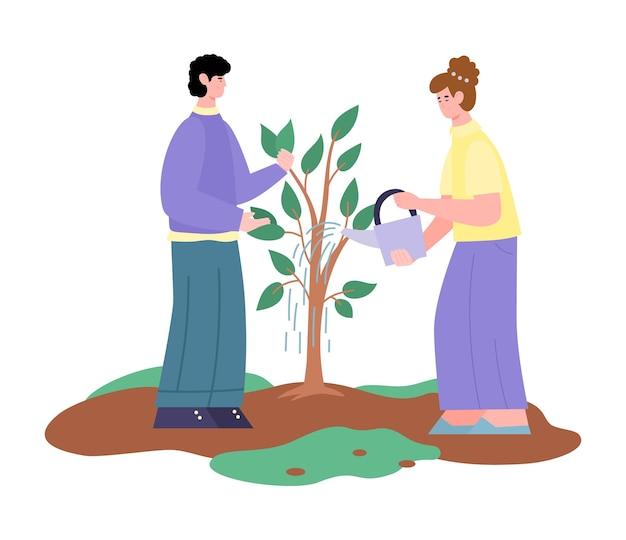 Casal regando desenho de árvore em crescimento isolado no branco Vetor Premium