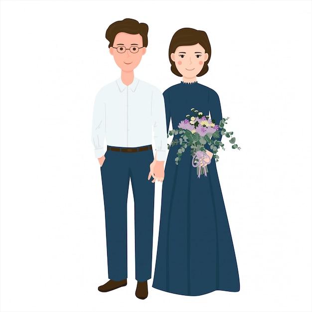 Casal romântico bonito traz ilustração de buquê de flores Vetor Premium