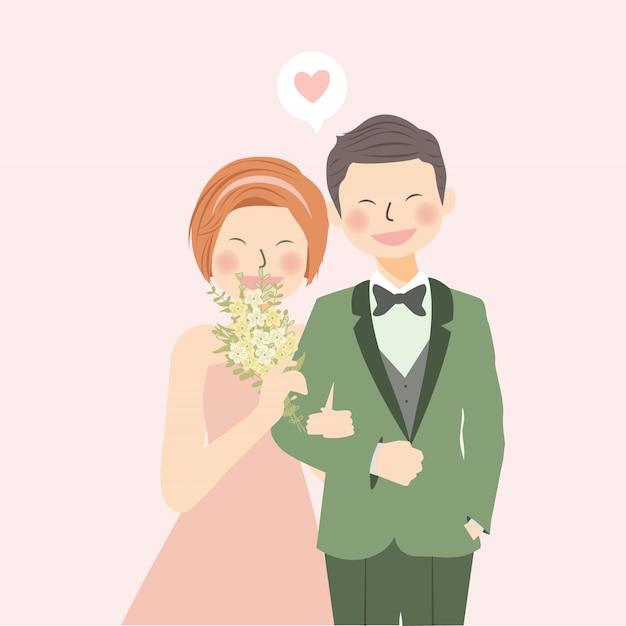 Casal romântico casamento segurando a mão e rindo com buquê de flores Vetor Premium
