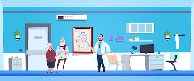 Casal sênior se comunicando com o médico Vetor Premium