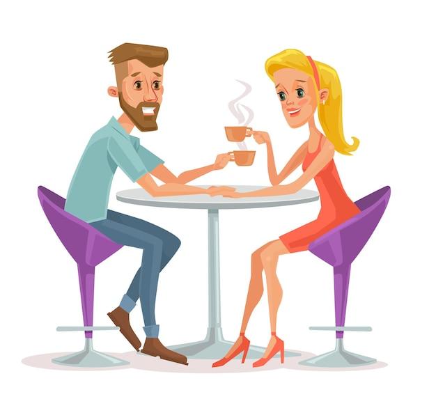 Casal sentado no café e bebendo café. Vetor Premium