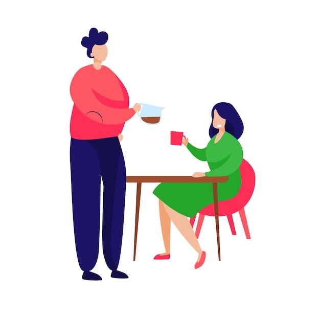Casal tomando café da manhã em casa Vetor grátis