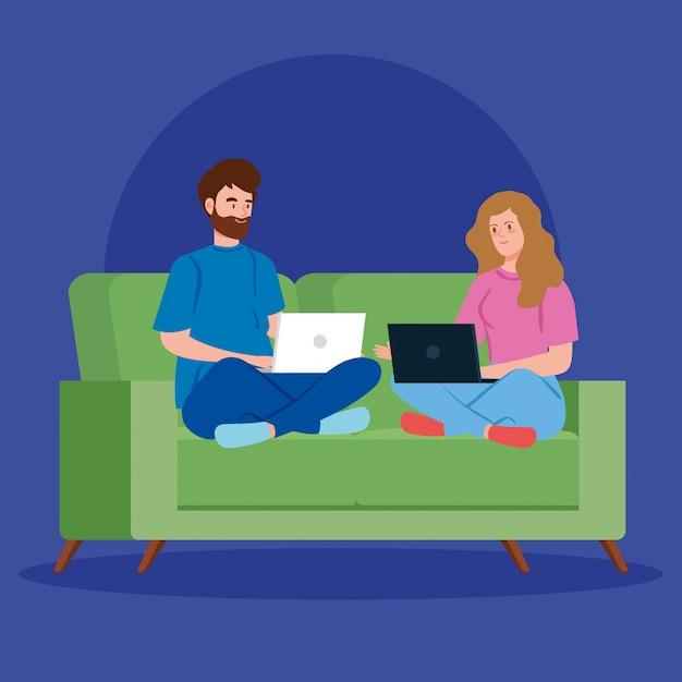 Casal trabalhando em telecommuting com laptop no sofá Vetor grátis