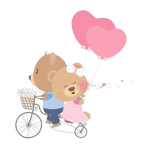 Casal ursinho na bicicleta com balão de coração Vetor Premium
