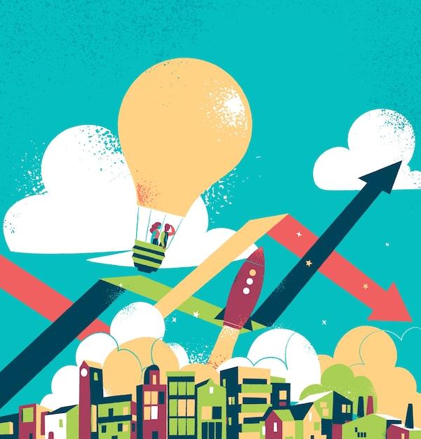 Casal voando sobre uma cidade em um balão de ar quente Vetor grátis