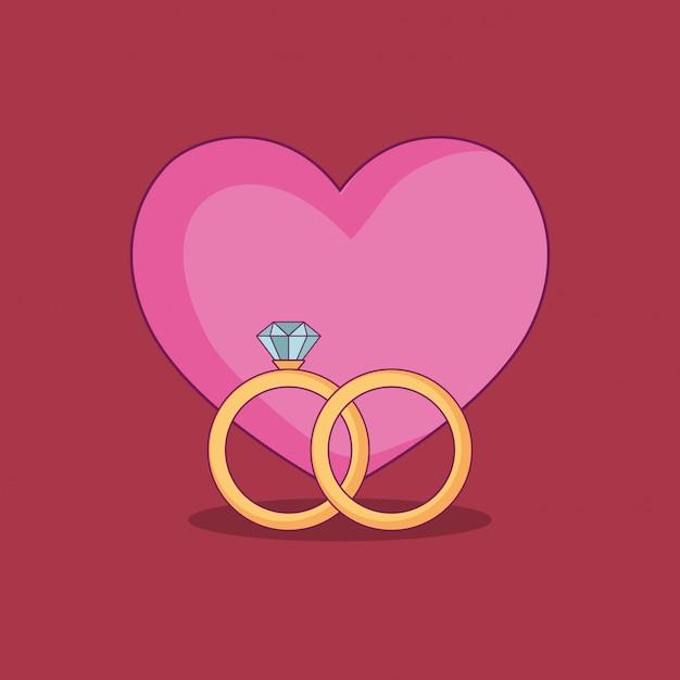 Casamento com anéis de noivado Vetor Premium
