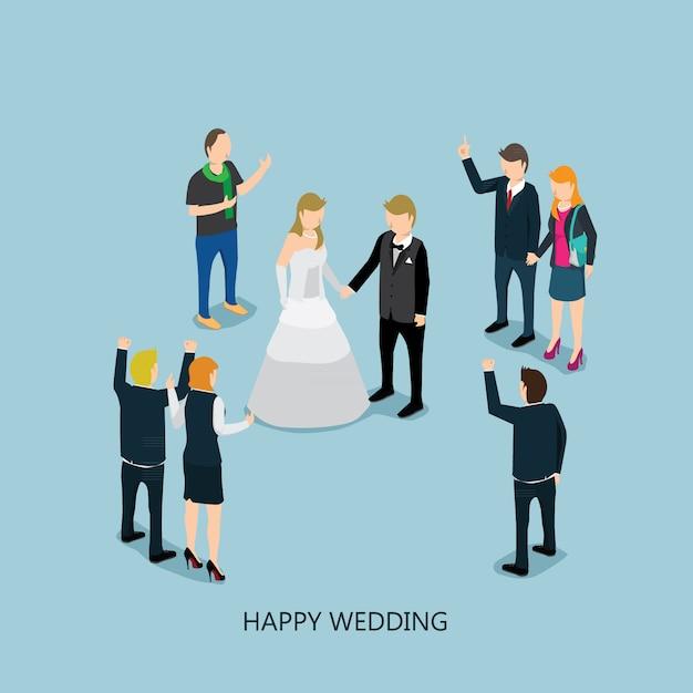 Casamento com conceito isométrico Vetor Premium