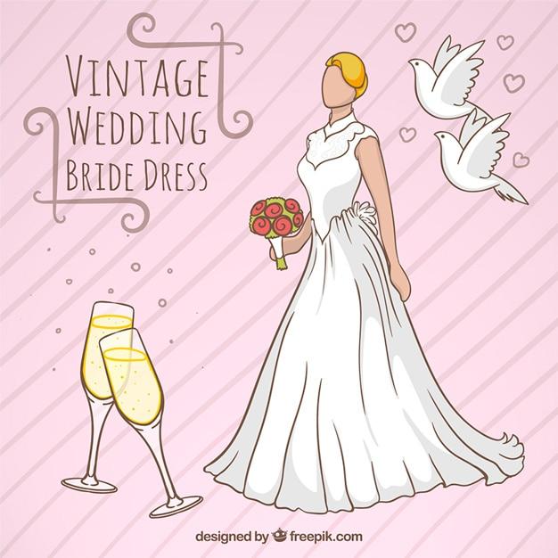 Casamento do vintage projeto vestido de noiva Vetor grátis