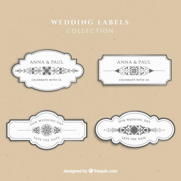 Casamento etiqueta a coleção Vetor grátis