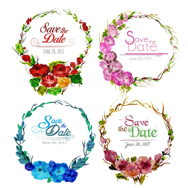 Casamento, floral, grinalda Vetor grátis