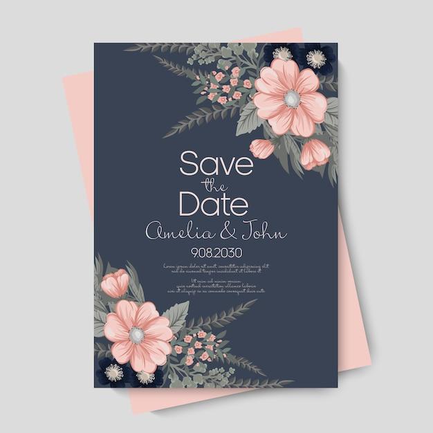 Casamento floral Vetor Premium