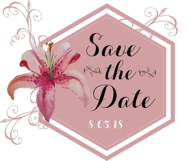 Casamento flores cor de rosa Vetor Premium