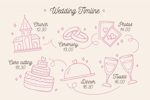 Casamento linear da linha do tempo do estilo Vetor grátis