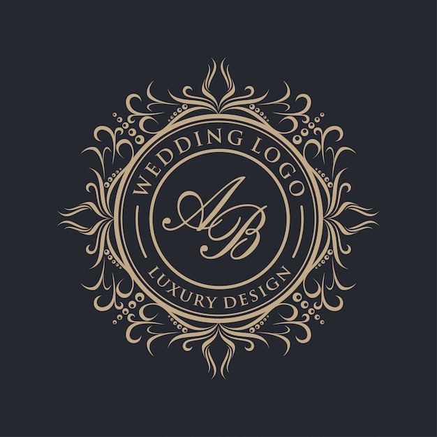 Casamento logótipo de luxo Vetor Premium