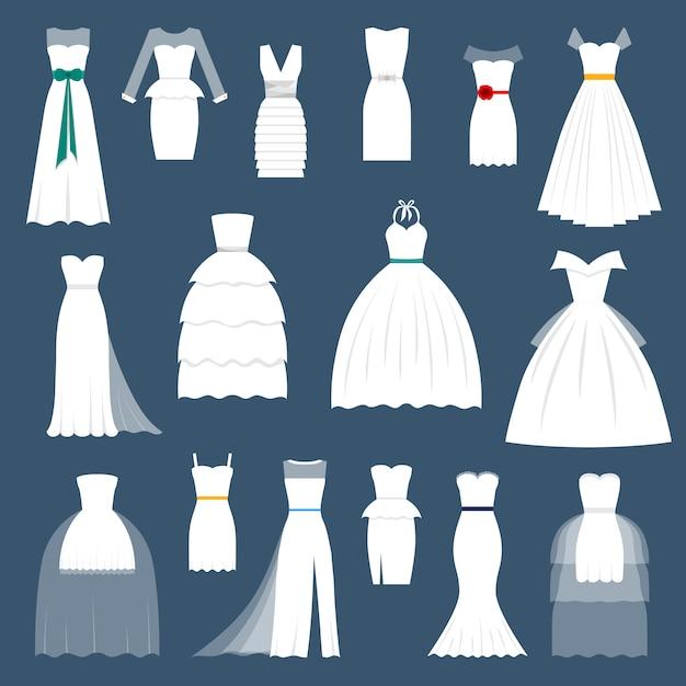 Casamento noiva vestido elegância estilo celebração vector Vetor Premium