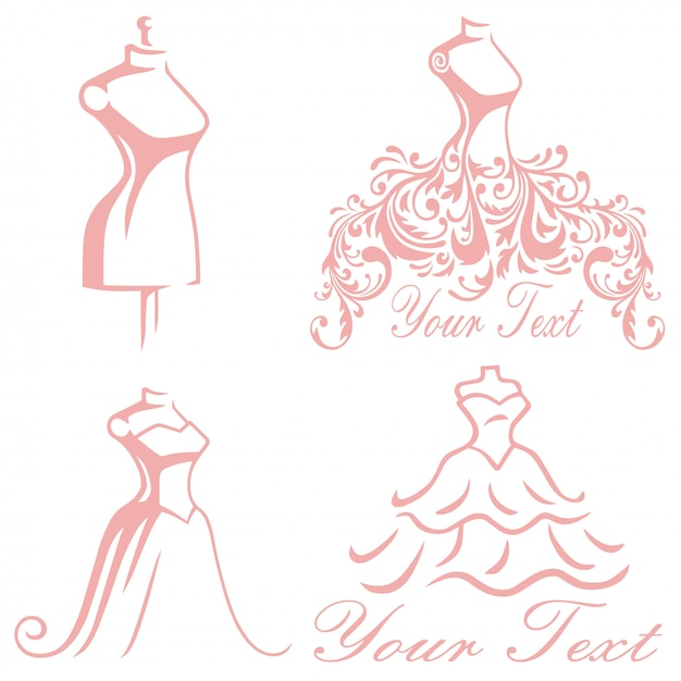 Casamento nupcial boutique vestido logo design set premium collection Vetor Premium