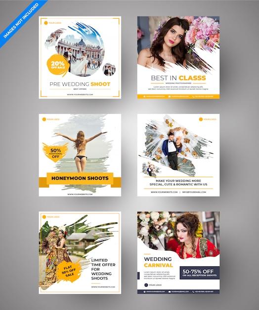 Casamento paralaxe amarelo & mídia social e banners web multiuso para marketing digital Vetor Premium
