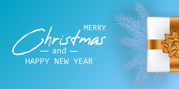 Casar com o cartão de natal e feliz ano novo. banner de natal. Vetor Premium