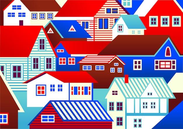 casas coloridas desenhavam em estilo de desenho animado baixar