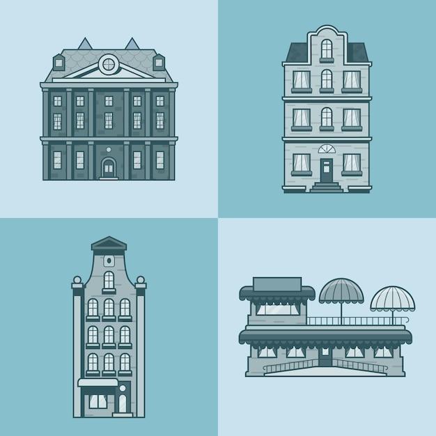 Casas da cidade hotel café restaurante terraço arquitetura conjunto de edifícios Vetor Premium